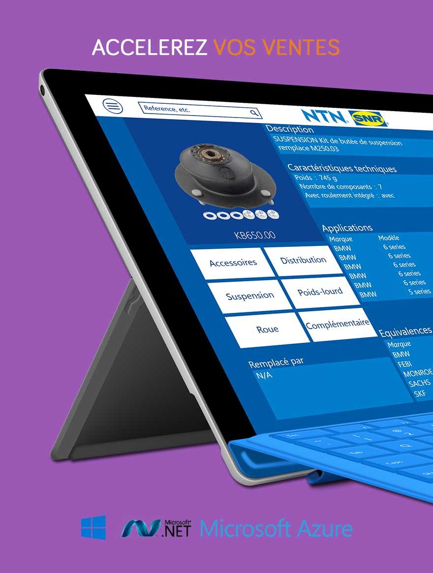 Plus d'information sur NTN-SNR: Le succès d'une plateforme digitale pour tablettes hybrides (Surface Pro) pour révolutionner les visites client de l'équipe de vente: Une augmentation extraordinaire de l'efficience  (-24 minutes par visite)  et de la satisfaction client (+ 33%): Intégration de plus de 14 bases de données internes et externes pour une présentation innovante de plus de 6.000 produits, 150.000 correspondances venant du système ERP (SAP), toutes les présentations, films, catalogues, statistiques Business Intelligence, rapports, etc..