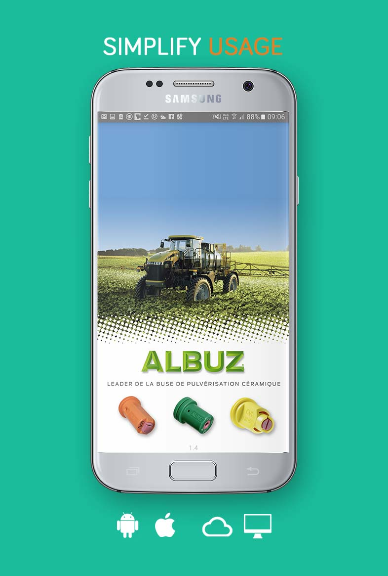 """Our integrated living app """"Albuz"""": Enlargement of an international distributor network supported by an innovative professional App for iOS and Android, which revolutionizes the product selection thanks to an interactive multi-factorial calculation including a dynamic Big Data Database with more than 40.000 measuring stations."""