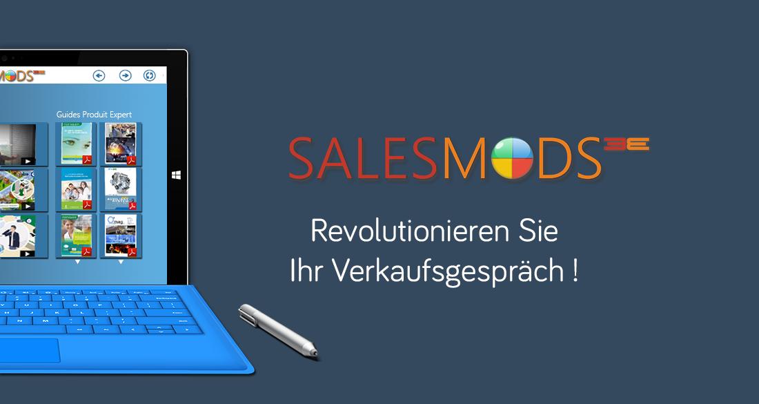 SalesMods 3E, die erste modulare SalesEnablement Plattform, um die Verkäufe Ihres Sales Teams zu revolutionnieren, speziell optimiert für 2-in-1 PCs (z.B. Surface Pro)